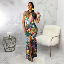 Cross V Neck Straps Print High Split Mermaid Maxi Dress SMR9244