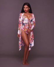 Printed 2pcs Swimsuit Cloak+Beach Bodysuit ME-219