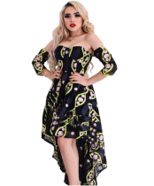Printed Slash Neck High Low Maxi Dress LM-8007
