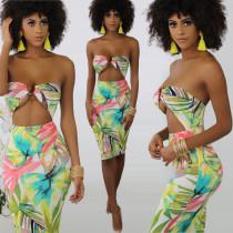 Sexy Strapless Cut Out Wrap Floral Print Dresses KSN-5007