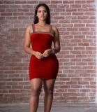 Red And Green Stripe Strap Mini Dress OJS-9081