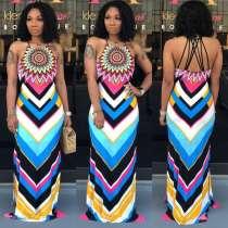 Geometric Print Straps Backless Slim Fit Maxi Dress OD-8263
