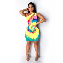 Sexy Printed One Shoulder Cut Out Mini Club Dresses TE-3722