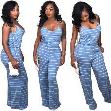 Stiped Spaghetti Strap Wide Leg Jumpsuit ORY-5038