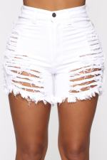 White Ripped Hole Jeans Casual Straight Shorts MA-224