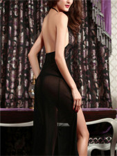Halter Black Lace Cut Out  Backless Lingerie YQ-126