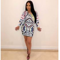 Vintage Print Long Sleeve O Neck Mini Dresses PIN-8172