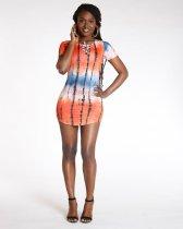 Tie Dye Print Short Sleeve Bodycon Mini Dress YM-9095