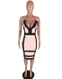 Pink Deep-V Bodycon Midi Dress WZ-8099