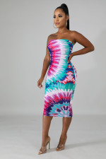 Sexy Printed Strapless Bodycon Midi Dresses YD-8106