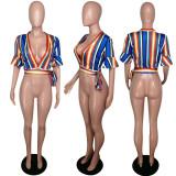 Colorful Stripe Deep V Neck Short Sleeve Tops MYP-8864