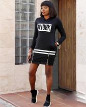 Letter Print Full Sleeve Hooded Mini Dress YMT-6047