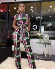 Geometric Print Short Sleeve Long Pants 2 Piece Outfits MYP-8872