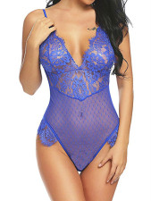 Sexy Strappy V Neck Lace Sheer See Through Teddy Lingerie YQ-377