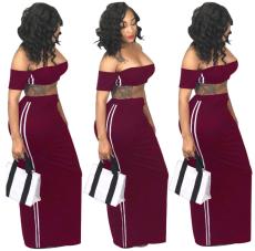 Wine Red 2 Pcs Side Striped Maxi Dress YS-8266