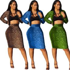 Leopard Print Zipper Top And Skirt 2 Piece Set ARM-8128