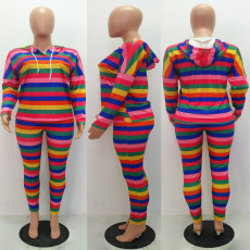 Colorful Striped Hooded Two Piece Outifits MAE-215