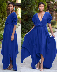 Blue Sexy V Neck Big Swing Irregular Hem Maxi Dress TK-6023