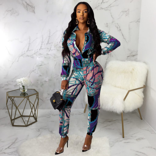 Chain Print Long Sleeve Turndown Collar Buttons Jumpsuits SMR-9377