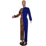 Trendy Leopard Print Patchwork Long Sleeve Jumpsuits MEM-8232