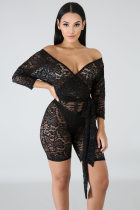 Sexy Deep V Lace See Through Long Sleeve Bodycon Rompers LA-3136