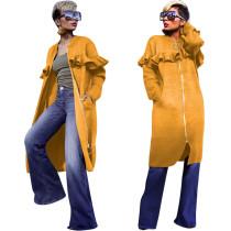 Plus Size Solid Ruffles Full Sleeve Zipper Long Coats YN-030