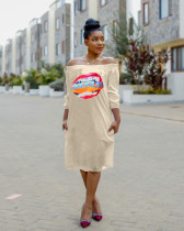 Casual Printed Long Sleeve Loose Midi Dresses TEN-3371
