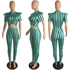 Plus Size Striped Short Sleeve Two Piece Pants Suit PIN-8431