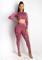 Fashion Printed Long Sleeve Crop Top Pants Bodycon Sets AWN-5055