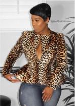 Hot Trend Leopard Print Long Sleeve Blazer Coat YM-9165
