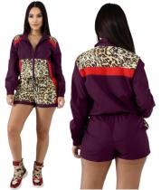 2019 Fashion Women Leopard Printed Splicing Sporty Two Pieces Sets LA-3141
