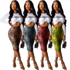 Leopard Print Long Sleeve Midi Skirt Two Piece Suits MOS-946