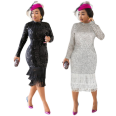 Plus Size Sexy Tassel Sequin Long Sleeve Midi Dresses YIS-835