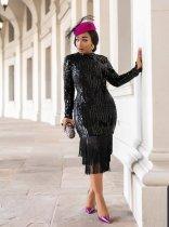 Plus Size Sexy Tassel Sequin Long Sleeve Midi Dresses YIS-835