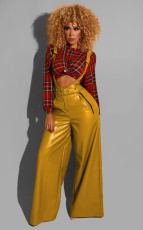 PU Leather Straps Belted Wide Leg Jumpsuits BS-1131