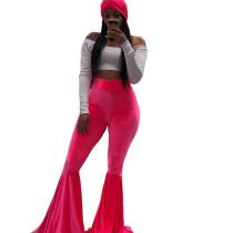 Solid High Waist Velvet Long Flared Pants BN-9204