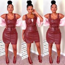 PU Leather Straps Zipper Mini Dresses MEM-8235