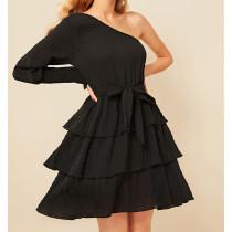 Black Sexy One Shoulder Cascading Mini Cake Dress ASL-6159