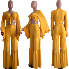 Plus Size Tie Up Crop Top And Wide Leg Pants Sets OJS-9151