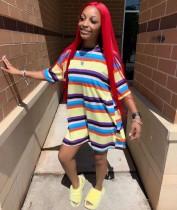 Rainbow Striped Half Sleeve Casual Loose Mini Dress YMT-6108