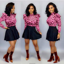 Leopard Print Ruffles Top A-line Skirt Two Piece Sets KSN-5070