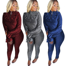 Solid Color Zipper Top And Pants 2 Piece Outfits ASL-6209