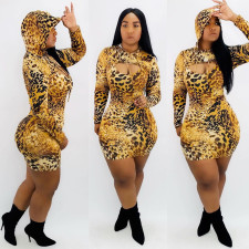 Leopard Print Sling Mini Dress Hooded Short Coat 2 Piece Set TK-6040