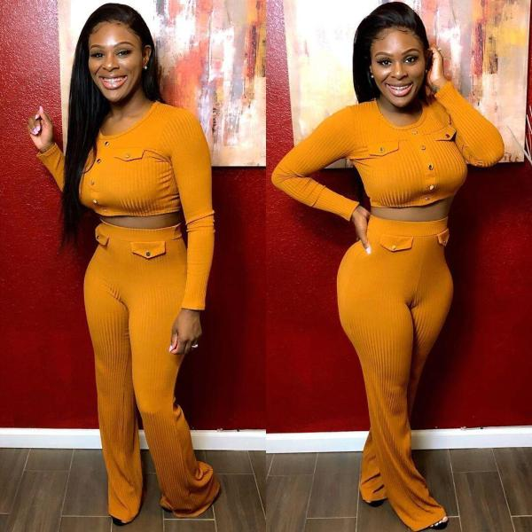 Solid Long Sleeve Tight Knitted Two Piece Sets FNN-8309