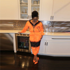 Casual Tracksuit Patchwork Zipper Two Piece Suits BN-9207