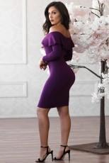 Sexy Slash Neck Long Sleeve Bodycon Dresses CL-6031