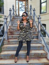 Camouflage Print Sequined Patchwork Jacket Coats YN-050