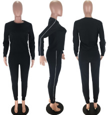 Casual Long Sleeve Zipper Two Piece Pants Set MX-998028