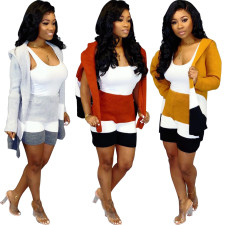 Casual Hooded Knitted Sweater And Shorts 2 Piece Sets MOS-953