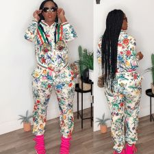 Floral Print Zipper Jacket And Pants 2 Piece Suits YN-039